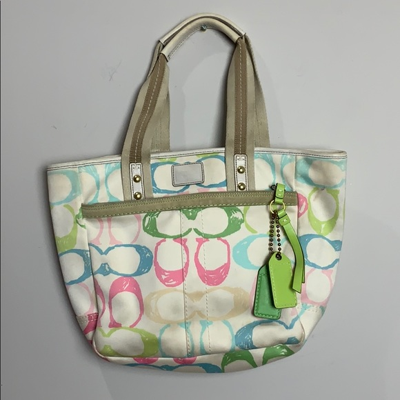 Coach white pink and green and blue handba…